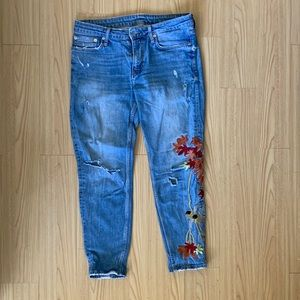 Zara jeans  with Colorful  Embroidery
